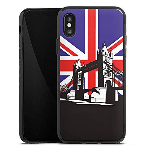 Apple iPhone X Silikon Hülle Case Schutzhülle London Großbritannien Tower Bridge Silikon Case schwarz