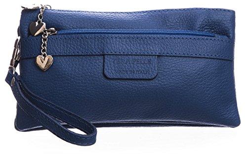 BHBS Damen Clutch Tasche aus echtem itelienischem Leder mit mehreren Tascheh Herz Charm 22 x 11 x 5 cm (B x H x T) Königsblau