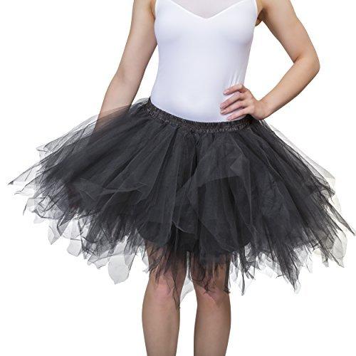Dancina Damen Petticoat 50er Jahre Retro Tutu Tüllrock [Sticker XL] Schwarz Gr. ()
