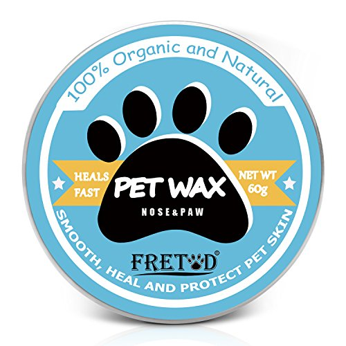 FRETOD Dog Paw Nose Butter Pet Balm 60G – 100% Organic Wax Protect and Moisturize Dry Cracked Nose & Pad