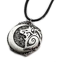 Miss–E–Jewels TM argento antico luna crescente lupo ciondolo collana da donna da uomo Talisman Saxon Viking Nordic