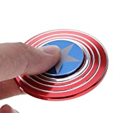 Captain America Metal Fidget Spinner Toy for Relieving ADHD, Anxiety, Boredom EDC Spinner Metal Fidget Toy Smooth Surface Finish Ultra Durable Non-3D printed