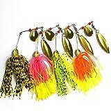 A-szcxtop rigide Spinner Bait Leurres de pêche avec coque en silicone Barbe Swimbait Bass Crankbait Lot de 4