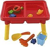 Bieco 06064087 - Sand - und Wasser Spieltisch inklusive Abdeckung und Sandspielzeug, 11 teilig