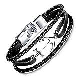 Unendlich U Herren Anker-Armband Handgefertigt Armbänder aus hochwertigem Kunst-Leder mit Edelstahl Anker für Männer