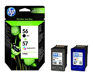 HP 56/57 Multipack Original Druckerpatronen (1x Schwarz, 1x Farbe) für HP Deskjet, HP Photosmart, HP PSC, HP Officejet
