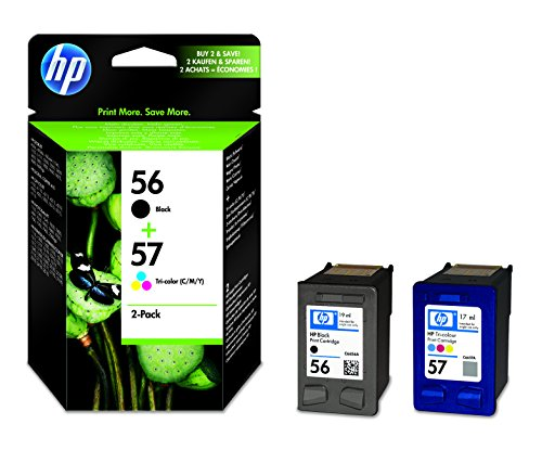 HP 56/57 Multipack Original Druckerpatronen (1x Schwarz, 1x Farbe) für HP Deskjet, HP Photosmart, HP PSC, HP Officejet (Drucker Patronen In Der Hp)