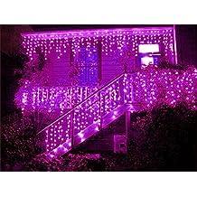 HITOP 96/216 LED 3.5M/5M Eisregen/Eiszapfen Lichterkette Weihnachtsdeko Weihnachtsbeleuchtung Deko Fairy Christmas INNEN und AUSSEN (pink - 3.5M)