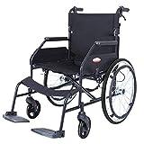 ACEDA Faltbarer Rollstuhl Mit Rutschfest Armlehnen,12Kg Leichter Rahmen Aus Aluminiumlegierung, Sitzbreite 46Cm(Kann 120Kg Unterstützen) Transportrollstuhl Reiserollstuhl,Schwarz