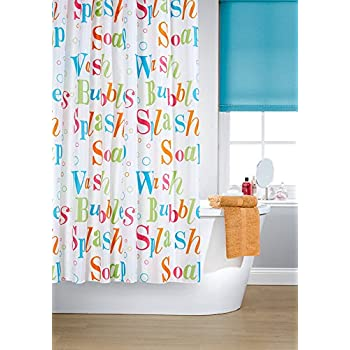 Vibrant Splash Multi Coloured On A White Background Polyester Shower Curtain  Including 12 Blue Shower Curtain Rings By Waterline