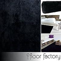 Alfombra Moderna Seasons negra 120x170 cm - Alfombra de Pelo Largo blanda y suave