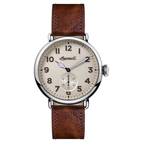ingersoll-mens-quartz-watch-with-off-white-dial-analogue-display-and-brown-leather-strap-i03301