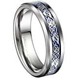 Queenwish 6mm Blue Silvering Celtic Dragon Tungsten Carbide Ring Wedding Bands Mens Jewelry