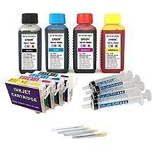 Kit de recarga para cartuchos de tinta Epson T0711-T0714, T0891-T0894 negro y color + cartuchos recargables y accesorios