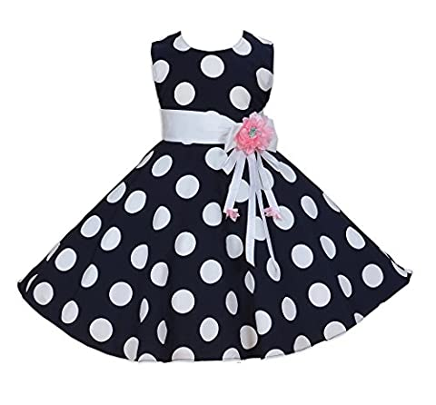 Cinda Girls Dotted Party Dress Dark Blue 4-5 Years