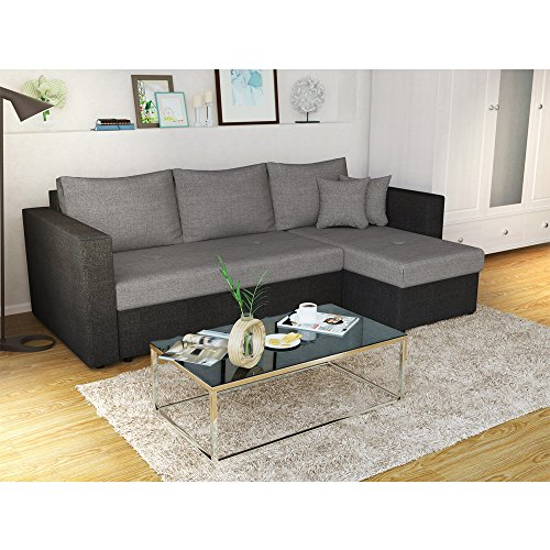 ecksofa mit schlaffunktion grau schwarz stellma 224 x 144 cm liege fl che 200 x 140 cm. Black Bedroom Furniture Sets. Home Design Ideas