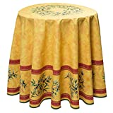 Provencetischdecke, Teflon-Beschichtet, enduit, abwischbar, Maussane Gelb-Cotto, Rund ca. 180 cm, von Provencestoffe