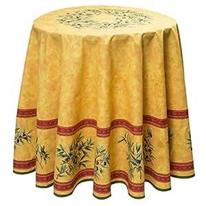 baumwoll tischdecke rund ca 180 cm maussane jaune von provencestoffe k che haushalt. Black Bedroom Furniture Sets. Home Design Ideas