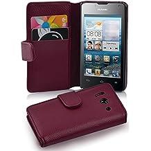Cadorabo - Funda Huawei ASCEND Y300 Book Style de Cuero Sintético en Diseño Libro - Etui Case Cover Carcasa Caja Protección con Tarjetero en BURDEOS-VIOLETA