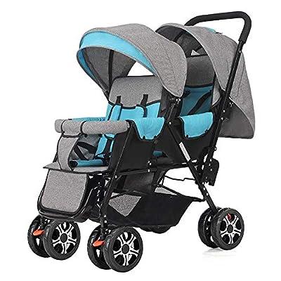 zxmpfg Cochecito de bebé gemelo portátil, cochecito fácil de plegar, diseño compacto, viaje conveniente, potente amortiguador, asiento reclinable multifuncional y toldo fáciles de limpiar