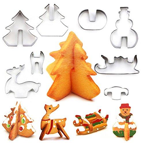 rm aus Edelstahl für Kekse, Weihnachtskekse, Desserts, Ausstechformen für Kuchen, Fondant, Kekse, Backen, silberfarben, 8 Stück ()