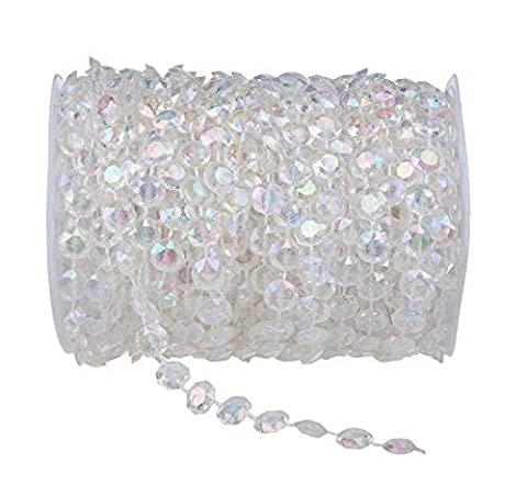 30m / 99ft Clear Crystal Beads Chandelier Party Weding Décoration AB coloré