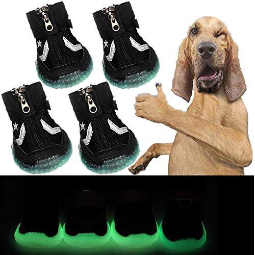 Sforza Hundeschuhe Pfotenschutz Hund, Gemütlich Sole mit Leuchtend bei Dunkelheit, Schwarz - Null Hunde Kostüm