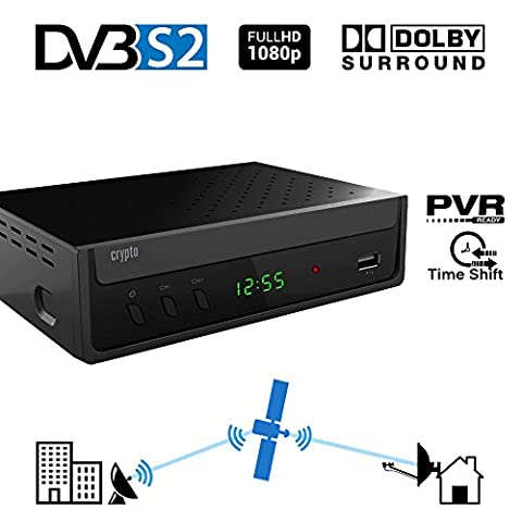 Crypto ReDi S100P DVBS2 Satellitenreceiver für öffentliche Sender (PVR-Ready,DVBS2, Full HD, HDMI, Dolby Digital, SCART, USB 2.0,LNB IN/OUT, Koaxial, Mediaplayer, Fernbedienung)
