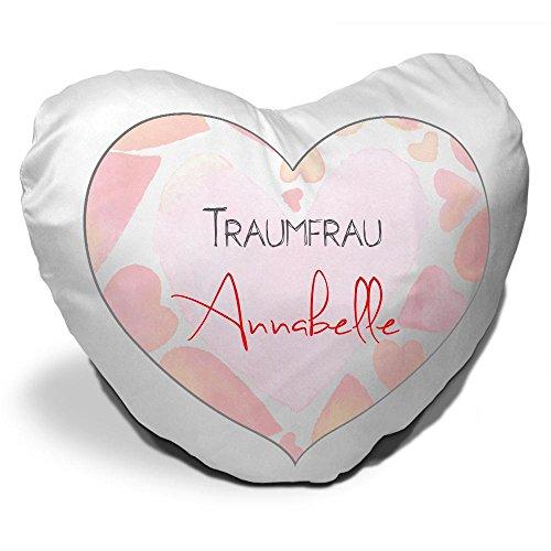 Herzkissen mit Namen Annabelle und schönem Motiv für die Traumfrau - Herzkissen personalisiert Kuschelkissen Schmusekissen -