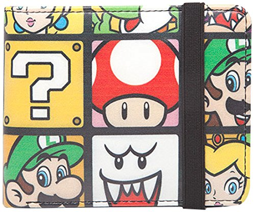 Bioworld NINTENDO Super Mario Bros. Characters Tiled Bi-fold Wallet with Elastic Band Monedero, 16 cm, Varios colores (Multi Colour)