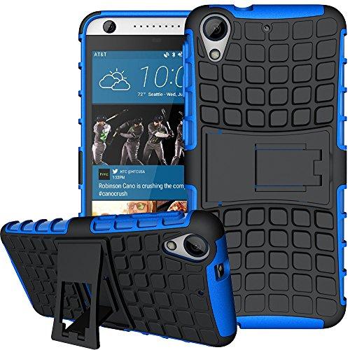 Nnopbeclik 2in1 Dual Layer Coque HTC Desire 626 Silicone [New] [Alligator] Protectrice Fine Et Élégante Rigide Back Cover Incassable case pour HTC Desire 626 Coque Ridige [626G/626S] (5.0 Pouce) Protection Hybride en Mélange avec Béquille de Support Intégrée Housse Antiglisse Anti-Scratch Etui - [Bleu]