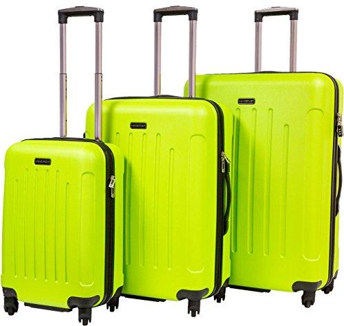 Hainberger Markenkoffer 3er Koffer-Set Trolley-Set Rollkoffer Reisekoffer, TSA, (S, M & L) Gruen