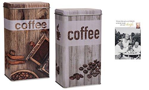 Metall Kaffeedose 'Vintage Look' & Postkarte 'Filterkaffee' - Set ~ (Grau)