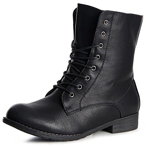 Topschuhe24 966 Mulheres De Botas Do Trabalhador Ankle Boots Lace-preta