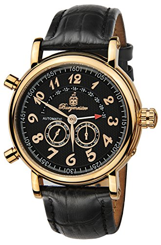 Burgmeister Nevada Bm105-322 Gents Automatic Analogue Wristwatch Black Leather Strap Day Date Month Year
