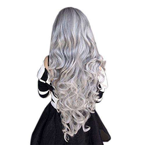 ECYC Frauen steingrau lange lockiges Wavy Haar Cosplay Lolita-Partei-Perücke-synthetisches Haar