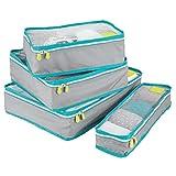 mDesign sacs de rangement avec fermeture éclair (lot de 4) – housse de rangement pour bagage à main ou valise – sacoche voyage en polyester respirant avec insert en maille – gris, turquoise et blanc