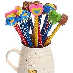 Lápices Infantiles con Borrador de Dibujos Multicolores 30 pcs,Bomstar material escolar Regalo de los niños