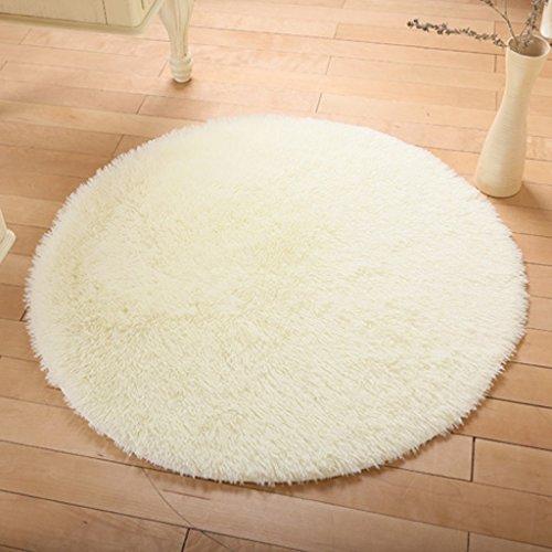 KKCF Europäische Rund Silk Wolldecke-Auflage für Wohnzimmer, Kaffee, Tisch, Teppich, Schlafzimmer, Bettvorleger Pad, Computerstuhl, Yoga-Matte Anti-Rutsch ( farbe : Weiß , größe : 101cm )