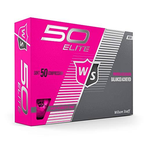 Wilson Staff Fifty Elite Golfbälle, 12 Stück, Unisex-Erwachsene, Fifty Elite PINK, Rose, Pink