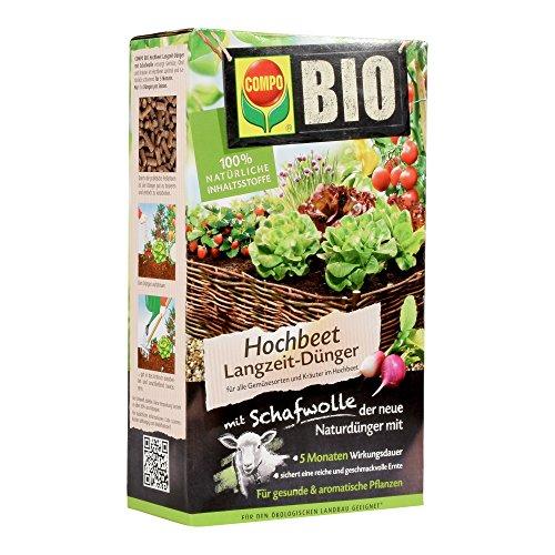 COMPO BIO Hochbeet Langzeit-Dünger für Gemüse, Obst, Kräuter und andere Hochbeet-Pflanzen, 5 Monate Langzeitwirkung, 750 g (Gemüse Und Bio-obst)