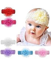 Baby Basics Company Crochet Cutwork Flower Headband for Baby Girls (Multicolor,Pack of 6)