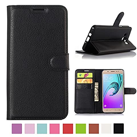 Samsung Galaxy J3 / Galaxy J3 (2016) Case, Happy360 PU Leather Wallet Flip Open Pocket ID Credit Card Holders / Cash Slots Case Cover, Black