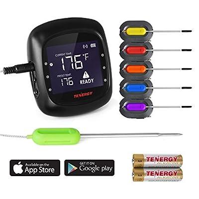 Tenergy Solis Digitales Fleischthermometer, APP gesteuertes drahtloses Bluetooth Smart BBQ Thermometer mit 6 Edelstahl-Sonden und großem LCD-Display, Koch-Thermometer für Grill und Smoker