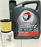 PACK TOTAL QUARTZ INEO ECS 5W30 + FILTER FLEXIBLE OIL FUNNEL orginal of the brand Peugeot/Citroen engines GASOLINE (1109.CK). Also valid for HDI diesel with FAP (oil particles) group PSA