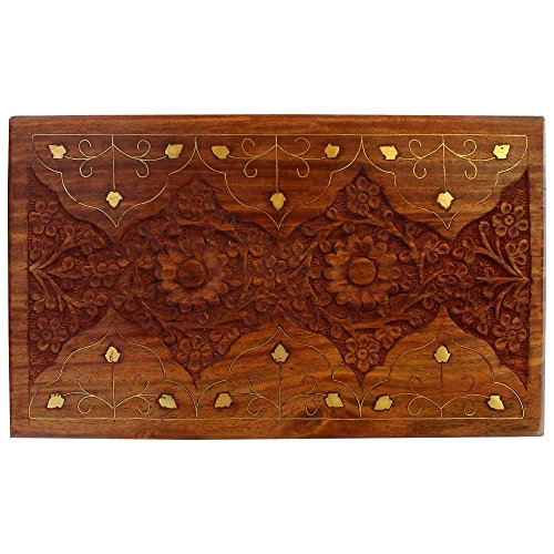 ITOS365 Handcrafted Wooden Jewellery Box for Women Jewel Organizer Hand Carved Carvings Gift Items, 10x6 Inches