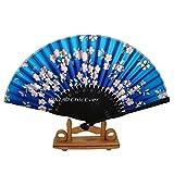 ChicEver Fächer/Handfächer aus Bambus & Stoff in blau Handarbeit 6907