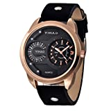 Familizo Luxury Alloy Men's Analog Quartz WristWatch Black + Gold