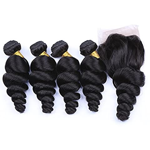 Loose Wave Sew In With Lace Closure Peruvian Hair 4 Bundle And Closure Hair Weave London 12 14 16 18+10