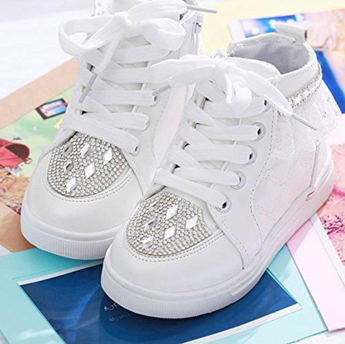 Scothen Filles chaussures de toile dessus baskets chaussures en toile jacquard fleurs Sneaker top textile Chaussures enfants toile sports de course baskets bébé filles chaussures de princesse Blanc